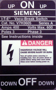 Warning sign from an electrical cabinet