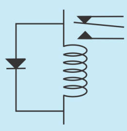 Schematic of a relay coil and a flyback diode.