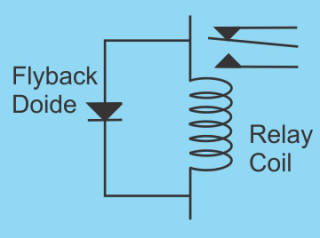 Relay and flyback diode.