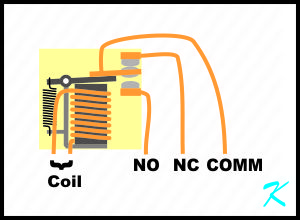 A common relay has two coil connections, a common contact connection, a normally closed connection, and a normally open connection