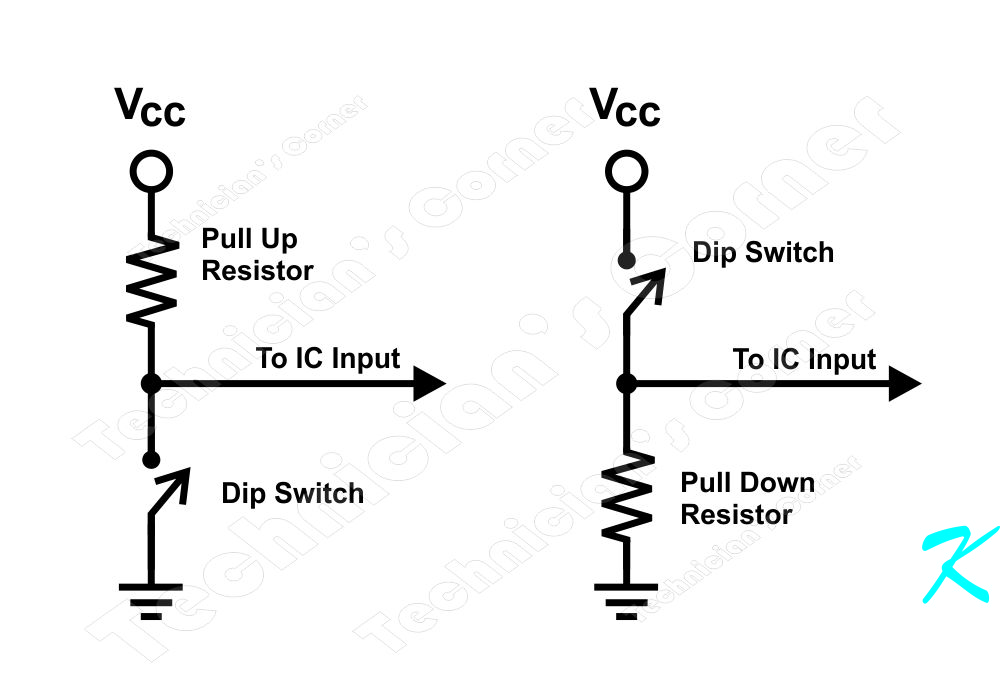 These are circuits showing the wiring for a pull-up and a pull-down resistor. Included with each schematic is the resistor, the IC's input, and the switch.