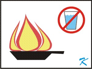 Putting water on a Grease Fire on the stove will flame-throw a ball of fire onto the cupboards above and the countertop all around the pan.