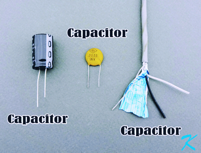 We think of an electrolytic capacitor as a capacitor and a ceramic capacitor as a capacitor, but a shielded wire is also a three plate capacitor.