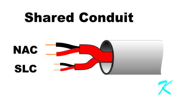 Running the NAC circuit and the SLC circujit together in the same conduit is a problem if the interfere with each other