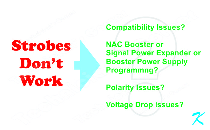 The strobes won't work because of compatibility issues, or AC Booster, signal power expander, booster power supply issues, or voltage drop issues