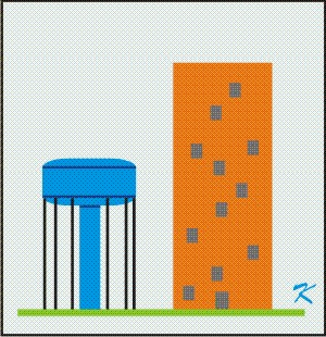 Many tall buildings are higher than the watertower supplying water