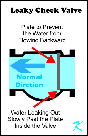 A check valve allows water to flow freely in one direction, and is supposed to prevent any water from flowing the other direction