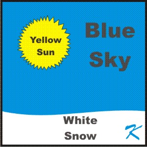 The sun is yellow, the snow is white, and the sky is blue.